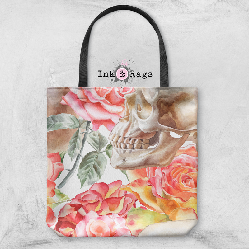 Peach Watercolor Rose and Skull Casual Tote