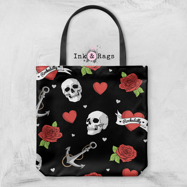 Rockabilly Heart Anchor Rose Black Casual Tote