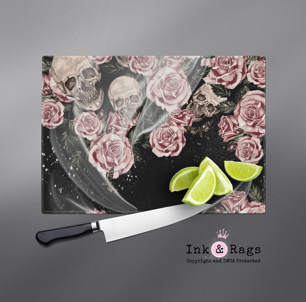 Pink Rose Death Moth and Skull Cutting Boards