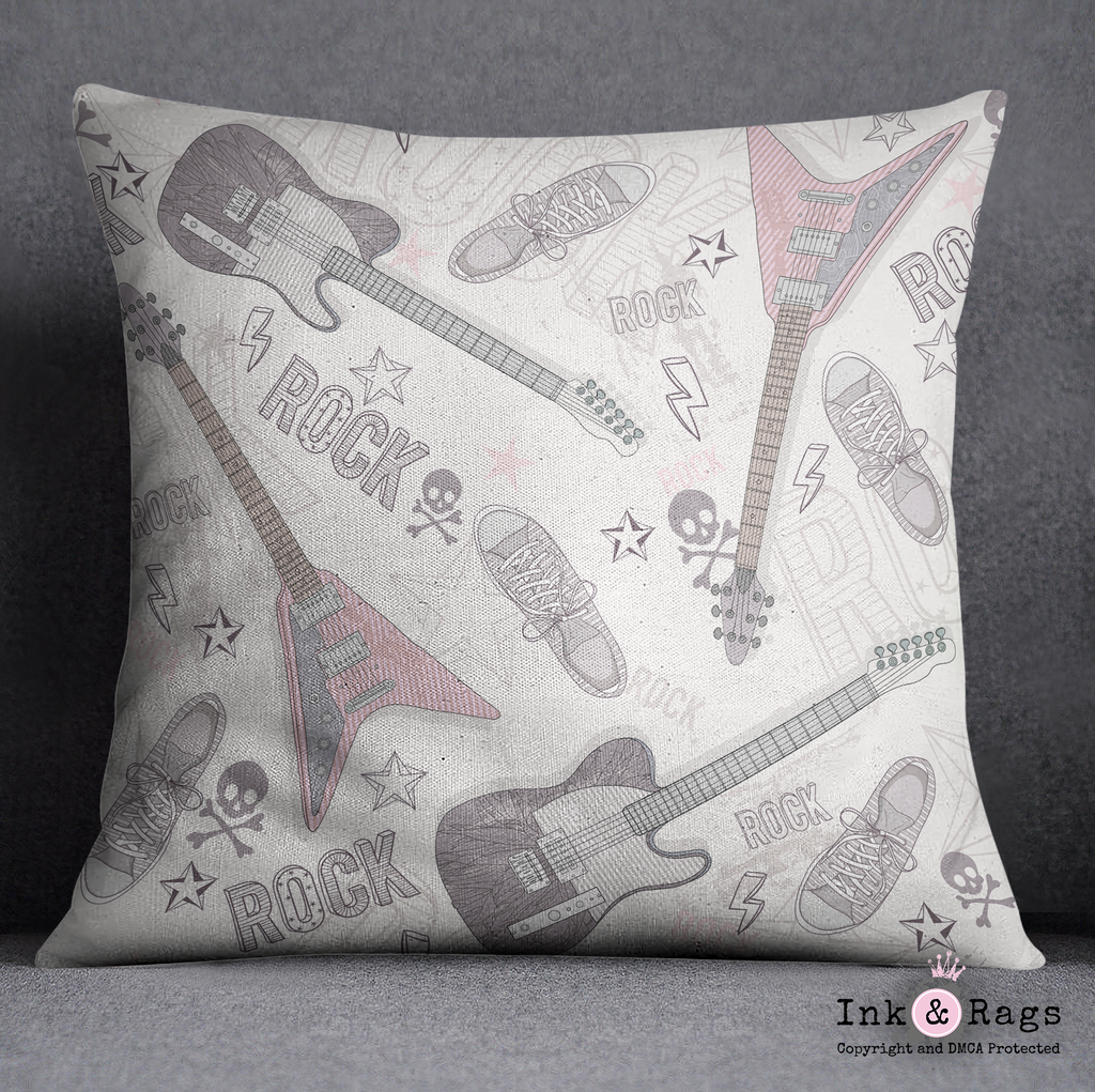 IN STOCK SAMPLE Rock Star Guitars, Skulls, and Sneakers Pillow Cover - 18 x 18