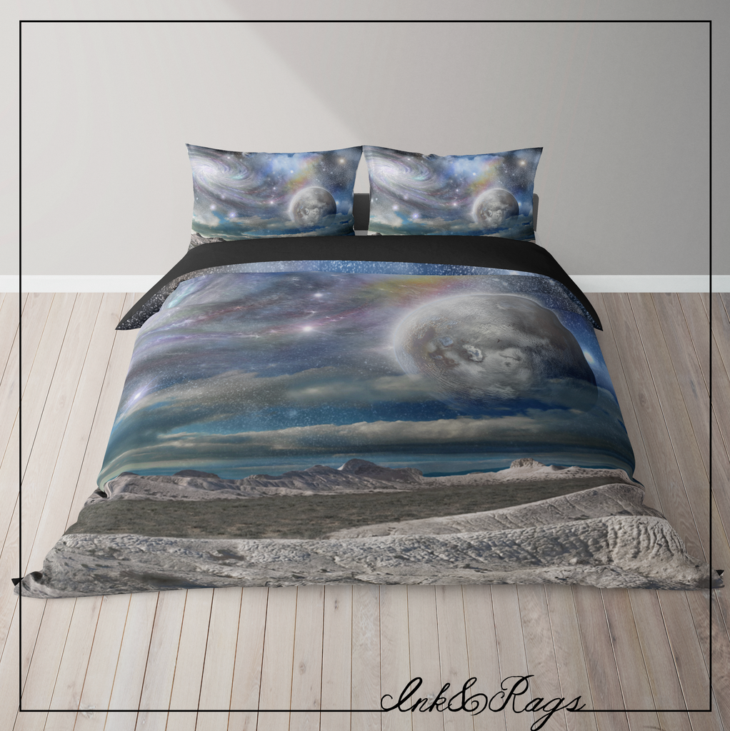 IN STOCK SAMPLE Planet to Planet Galaxy - 3 Piece Queen Duvet Cover Set