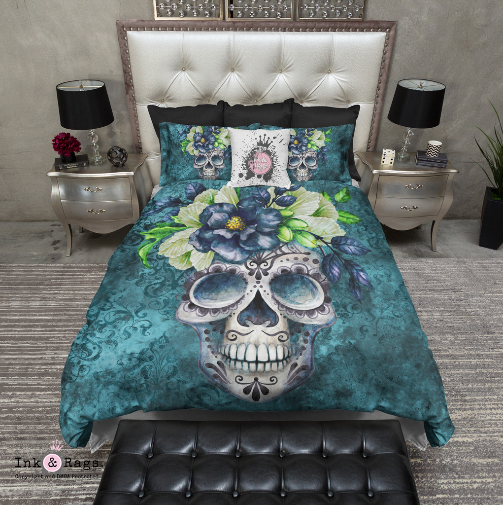 Teal Webbed Sugar Skull and Flower Bedding