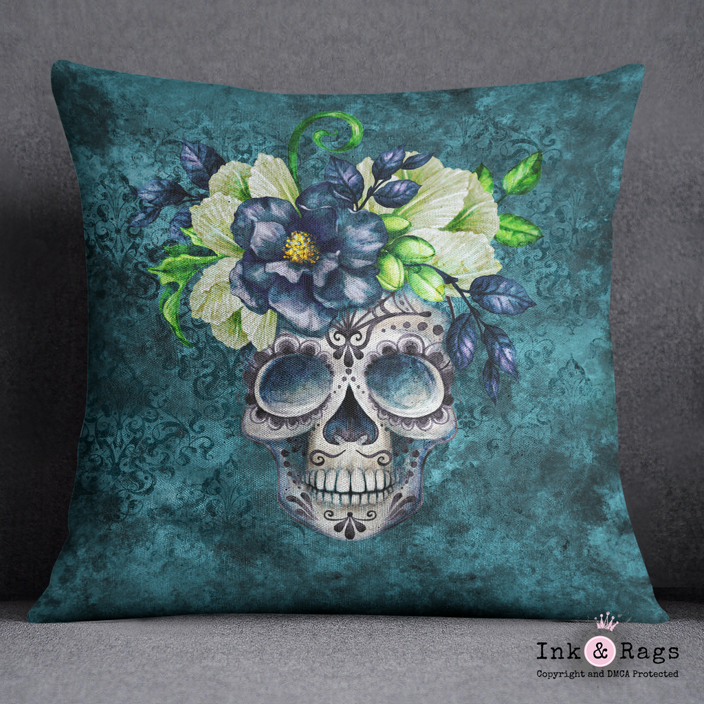 Teal Webbed Sugar Skull and Flower Decorative Throw Pillow Cover