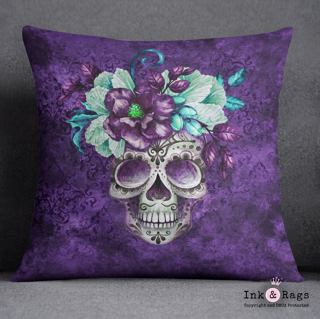 Purple Webbed Sugar Skull and Flower Decorative Throw Pillow Cover