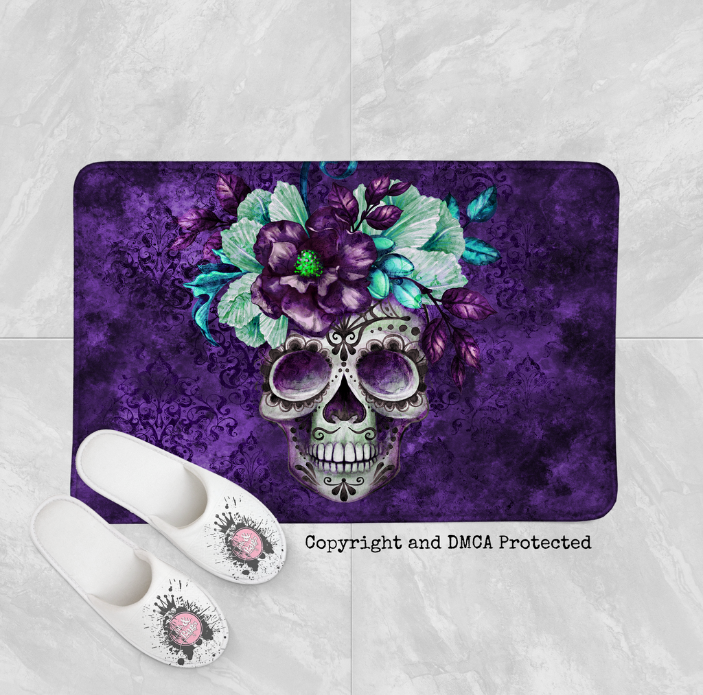 Purple Webbed Sugar Skull and Flower Shower Curtains and Optional Bath Mats