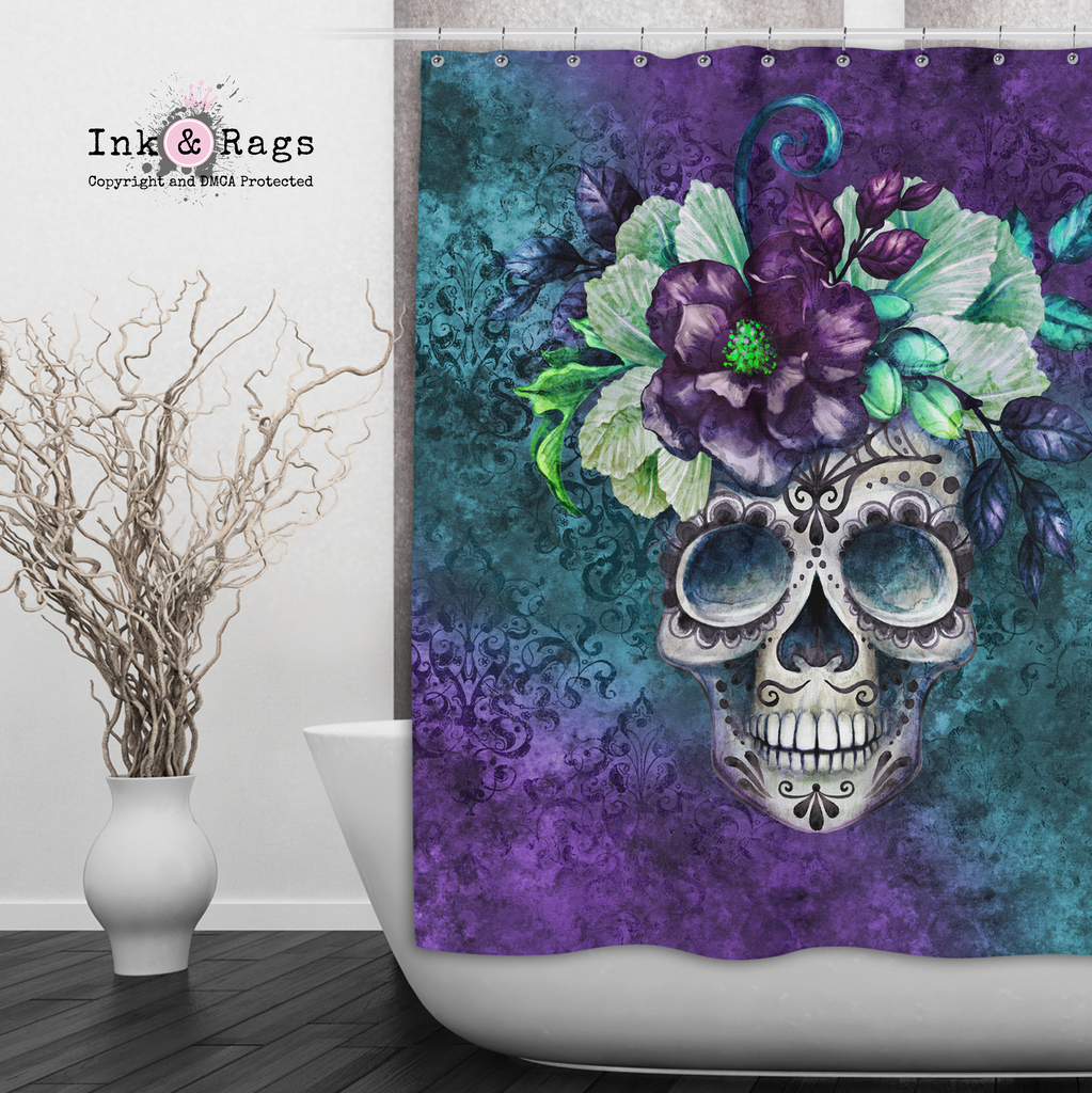 Teal and Purple Webbed Sugar Skull and Flower Shower Curtains and Optional Bath Mats