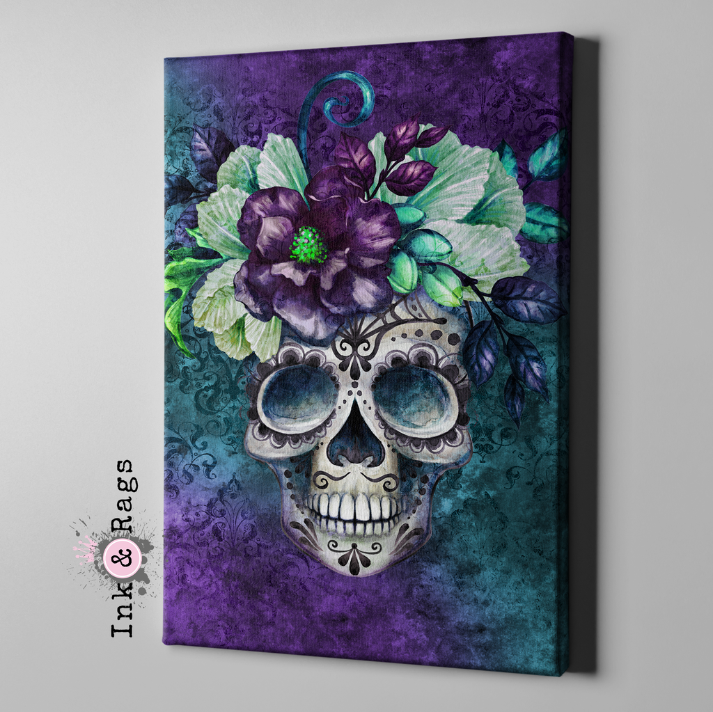 Purple and Teal Webbed Sugar Skull and Flower Gallery Wrapped Canvas