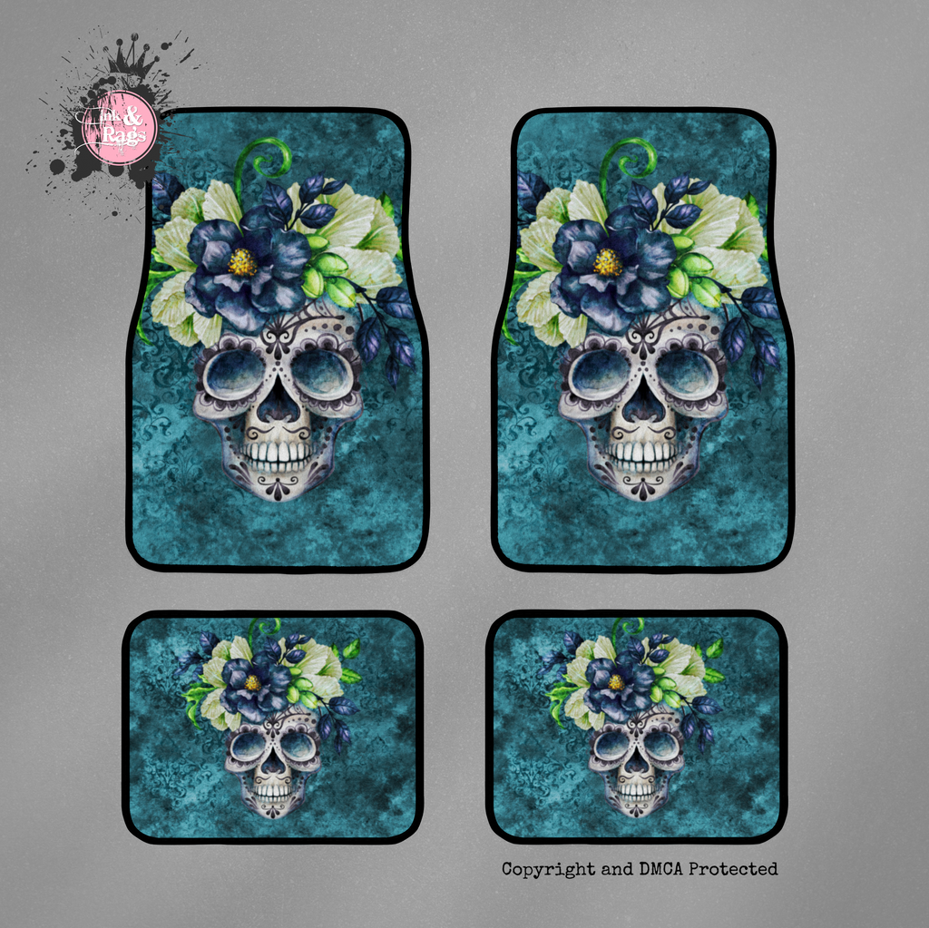 Teal Webbed Sugar Skull and Flower Car Mats