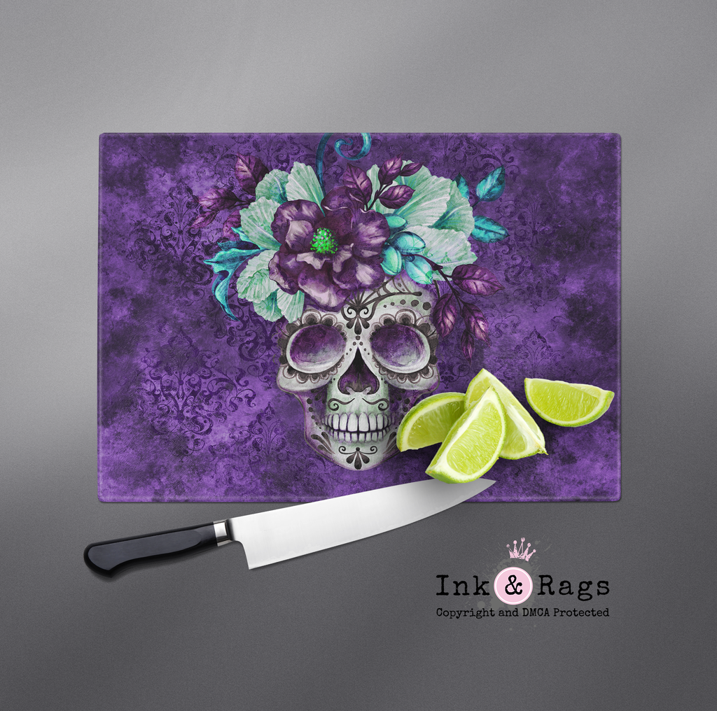 Purple Webbed Sugar Skull and Flower Cutting Boards