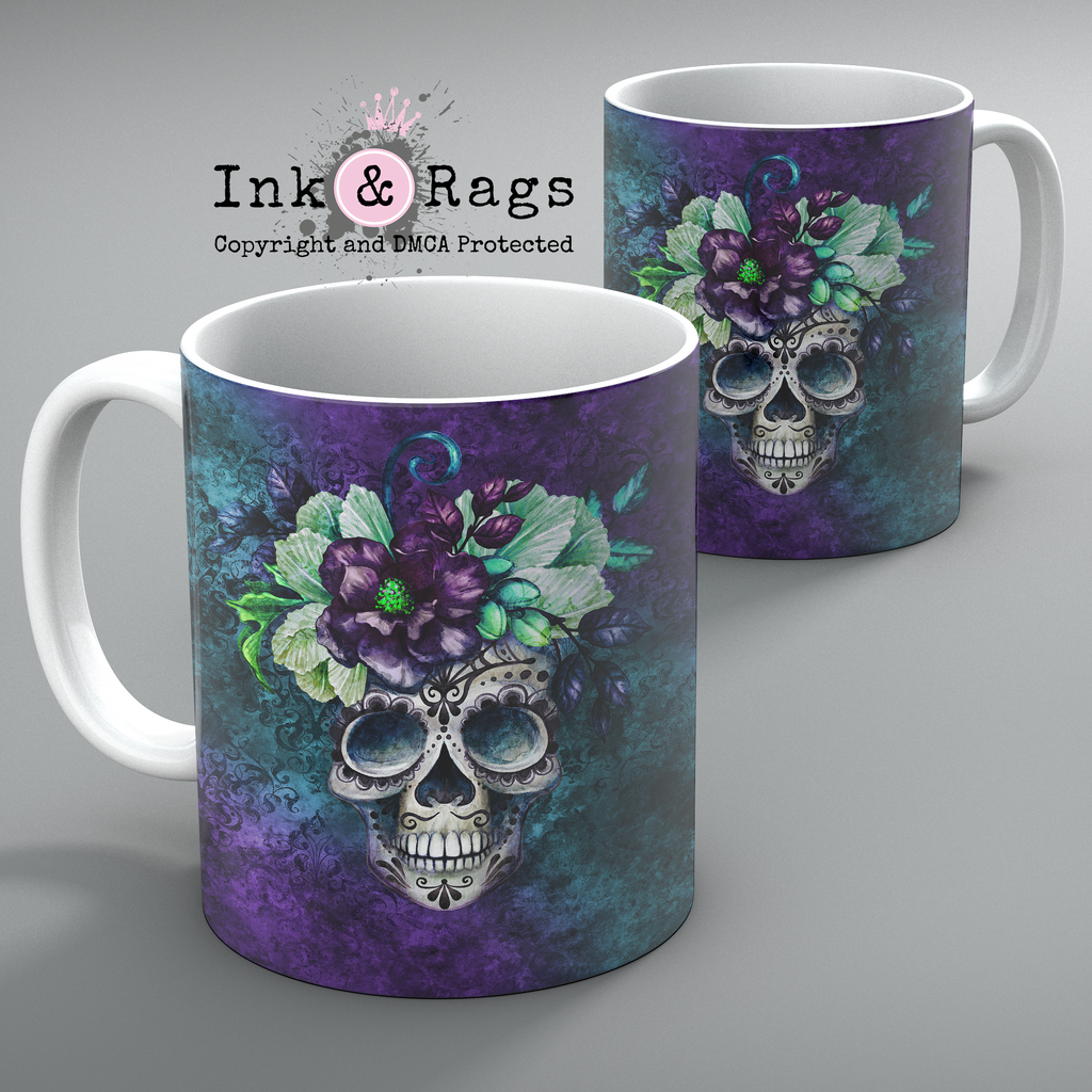 Purple and Teal Webbed Sugar Skull and Flower Mug Set of 2