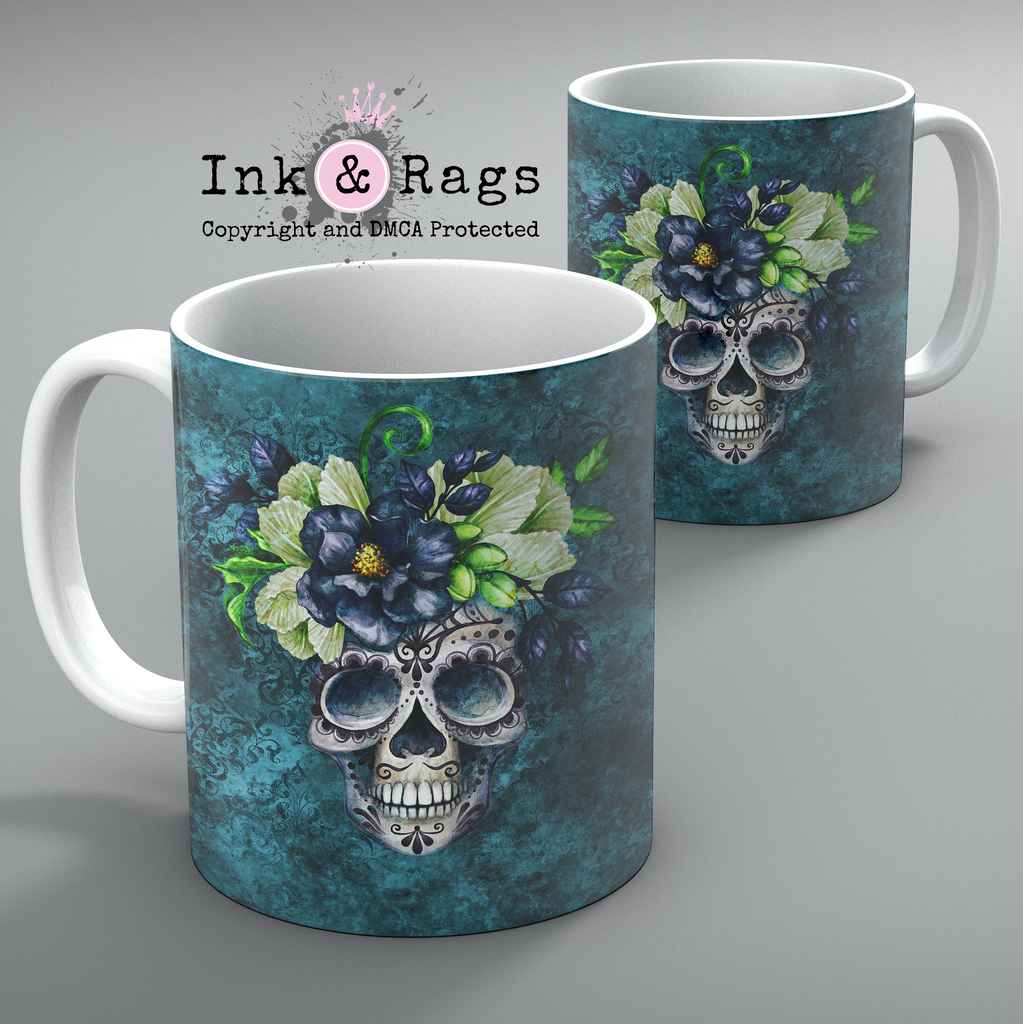 Teal Webbed Sugar Skull and Flower Mug Set of 2