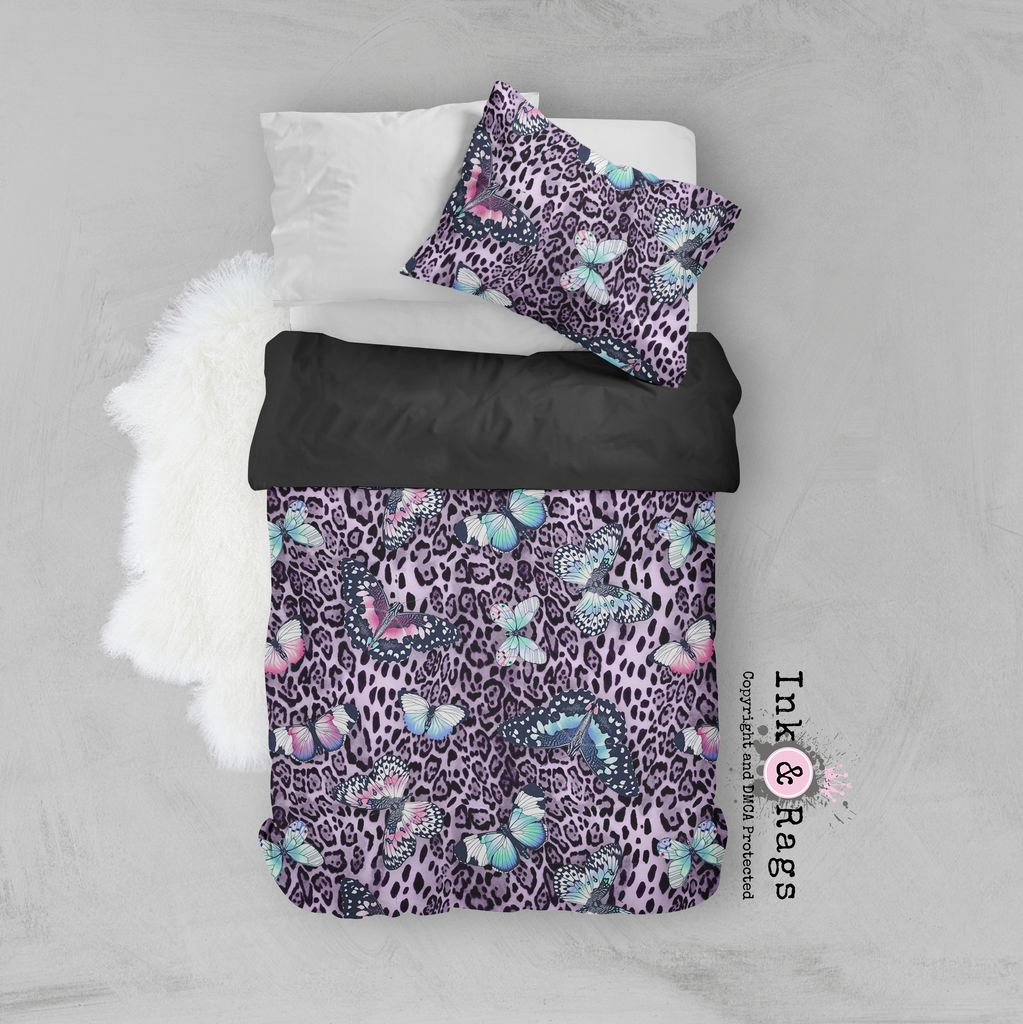 Purple Leopard Butterfly Crib and Toddler Bedding