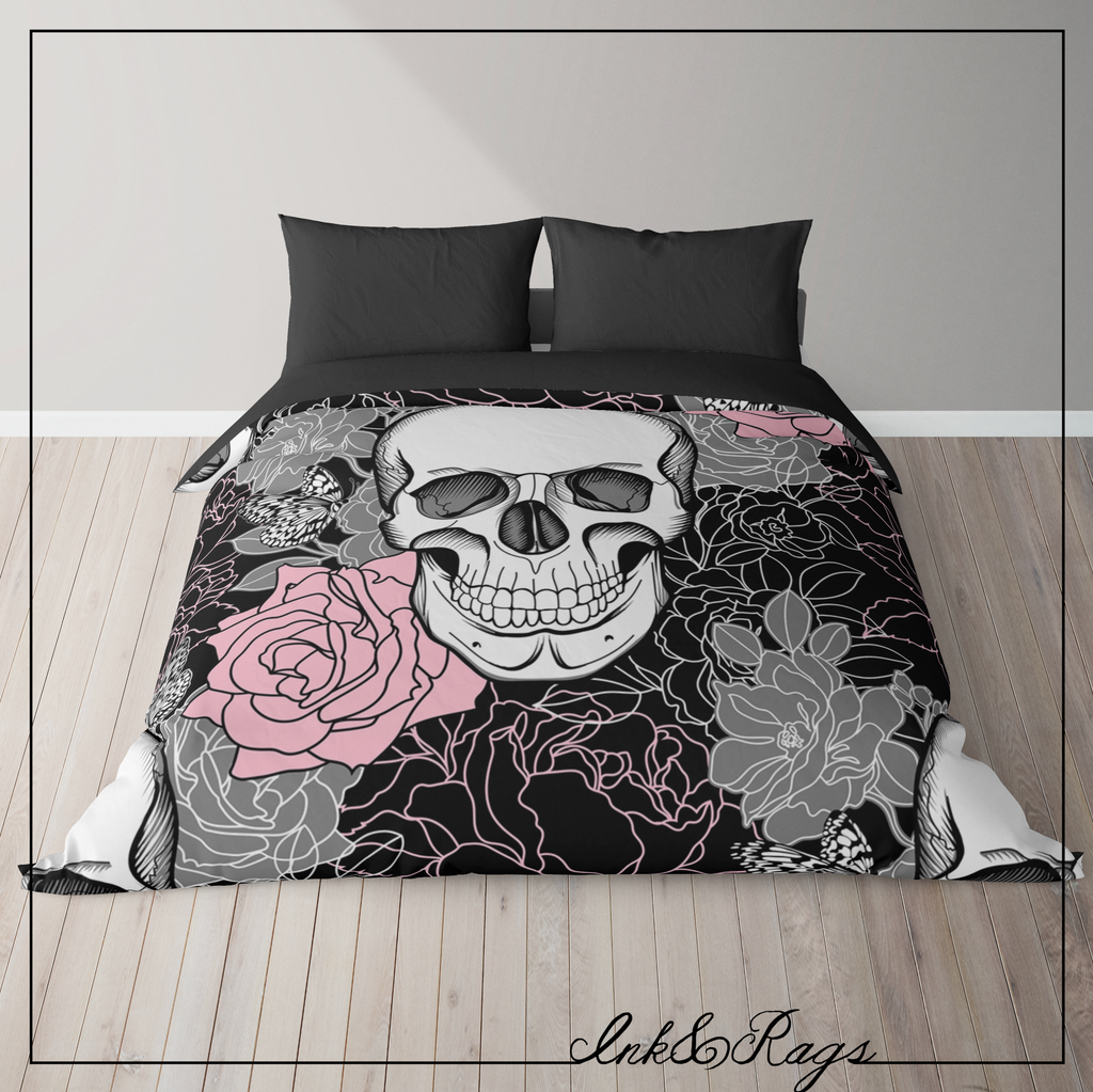 IN STOCK SAMPLE Pink and Grey Floral Skull - Queen Duvet Cover