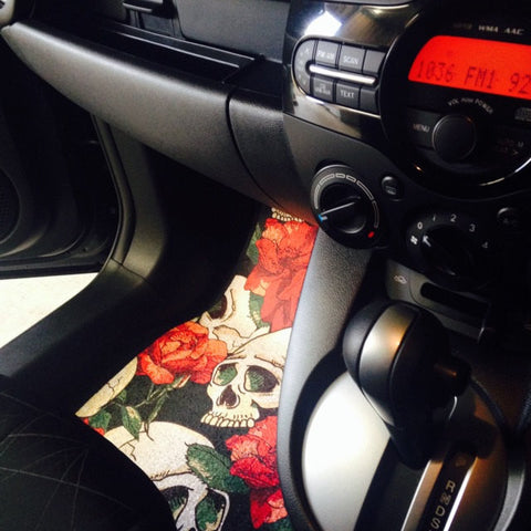 Sexy Red Flower Skull Car Mats