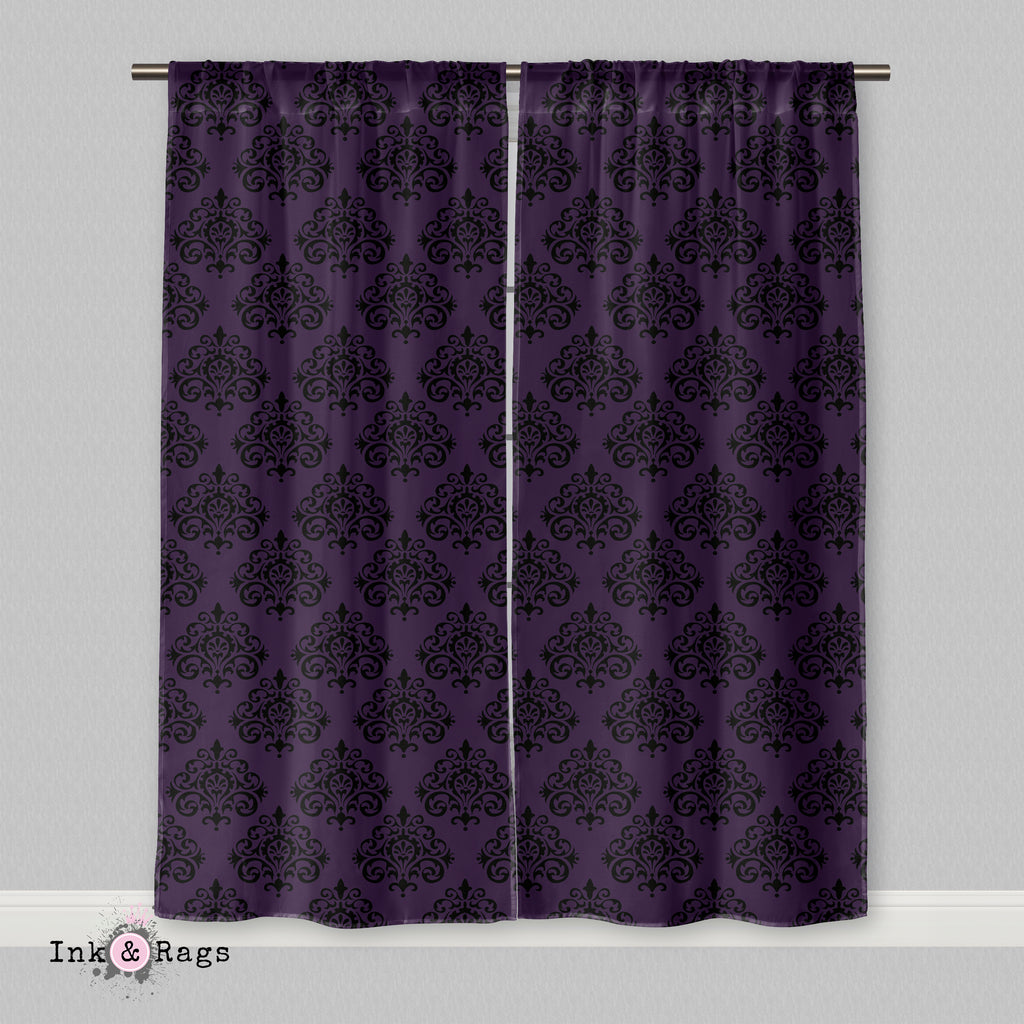 Purple Black Damask Curtains