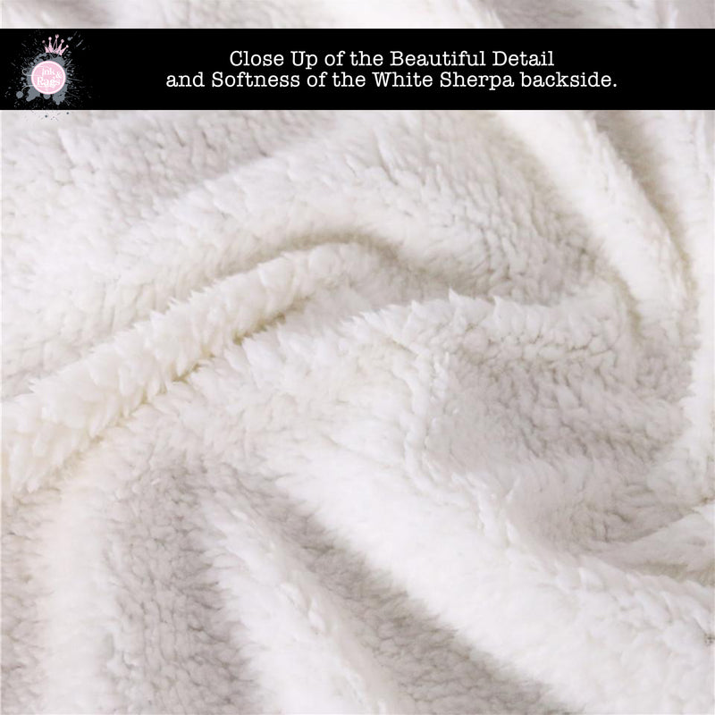 Two Unicorns in the Clouds White Velvet and Faux Sherpa Blankets