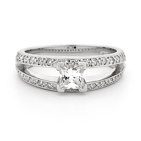 Princess Cut with Diamond Set Band