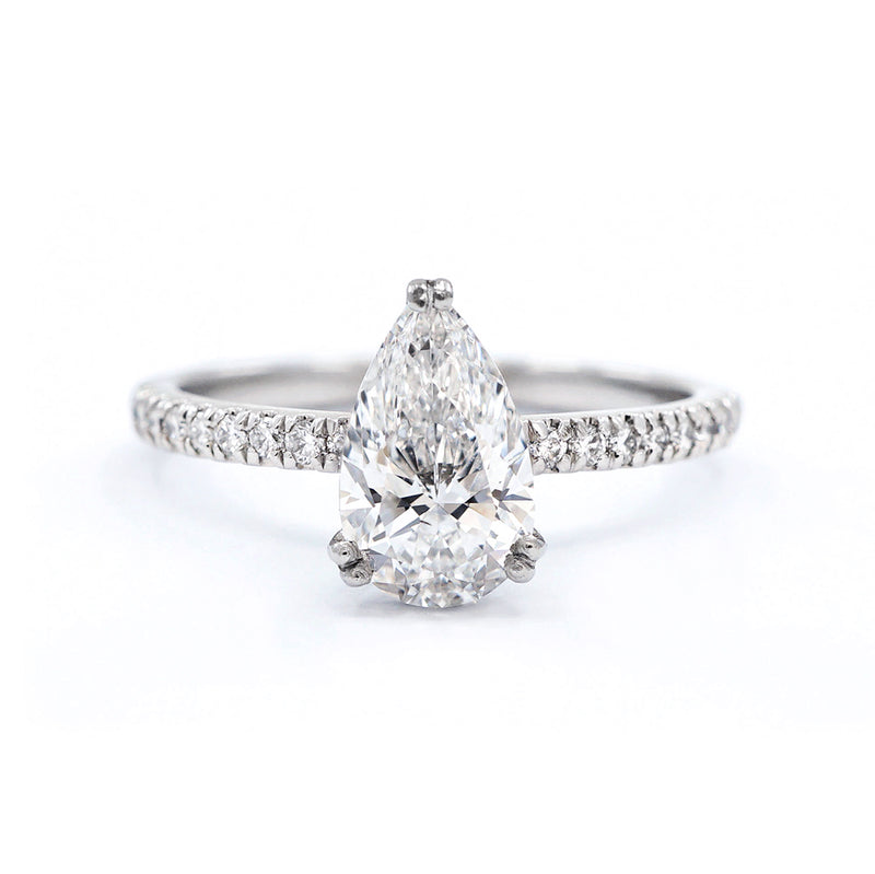 Pear with Diamond Set Platinum Band