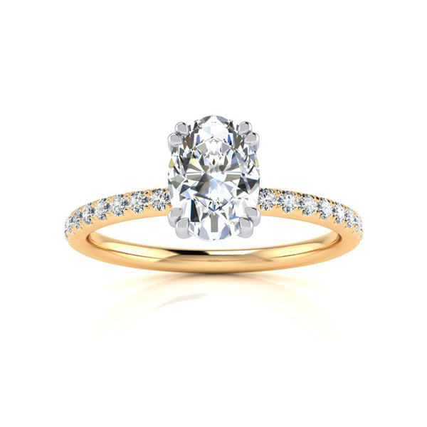 Gia Double Claw with Diamond Band - Yellow Gold