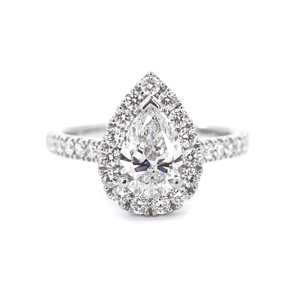 Platinum Pear Halo with Diamond Band