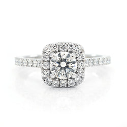 Half Carat Round Brilliant with Cushion-Shaped Halo