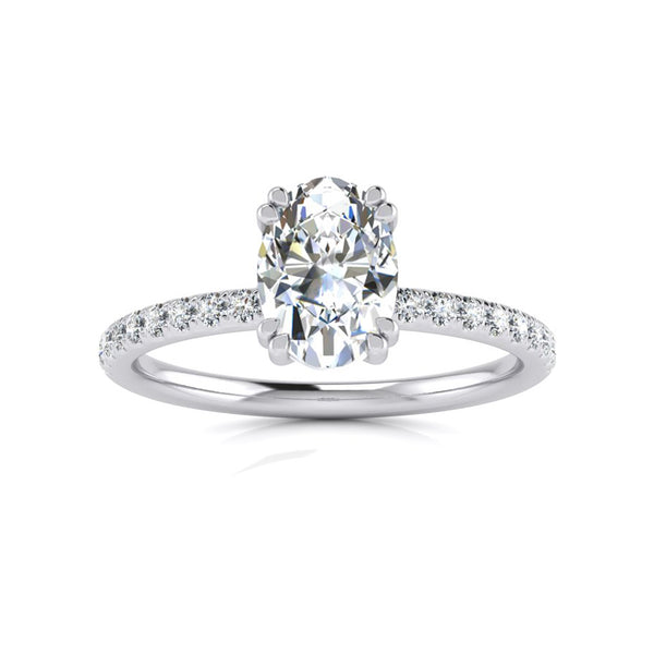 Oval Double Claw with Diamond Band - One Carat