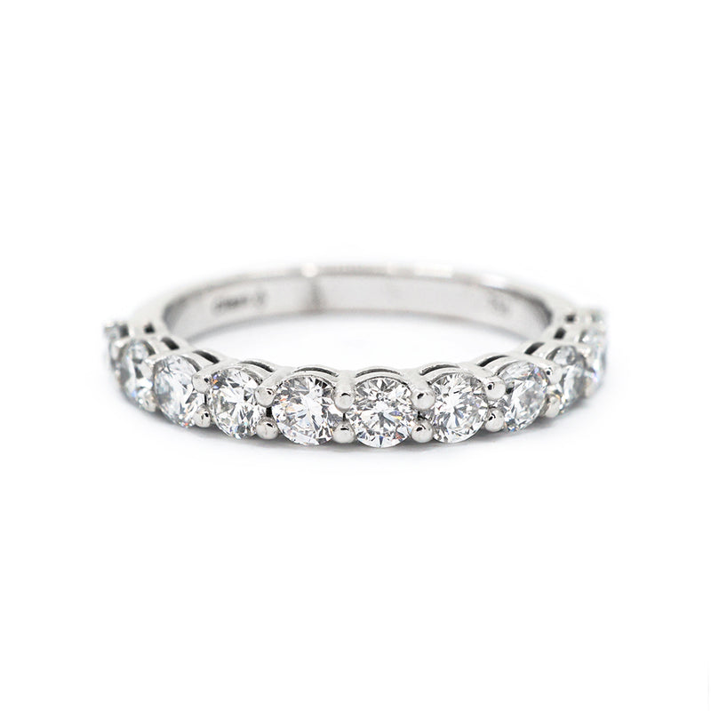 Scalloped Shared Claw Half-Set Diamond Band - 1.10ct