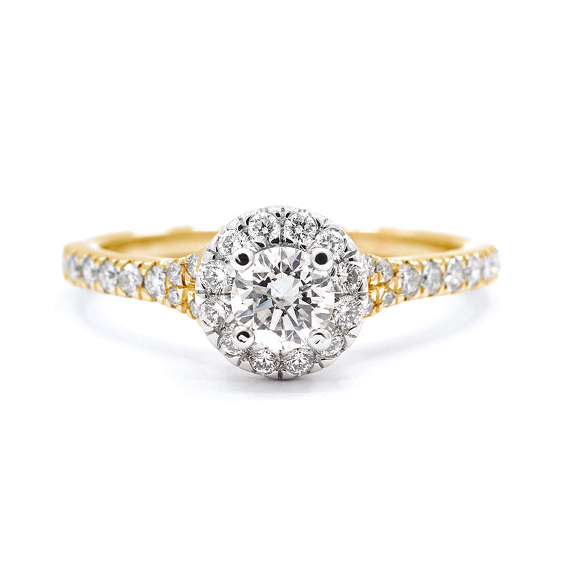 9ct Yellow Gold Round Brilliant Halo with Split Shoulders