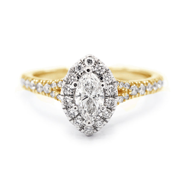 9ct Yellow Gold Marquise Halo with Split Shoulders