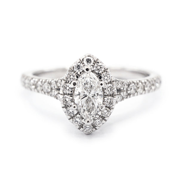 9ct White Gold Marquise Halo with Split Shoulders