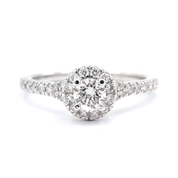 9ct White Gold Round Brilliant Halo with Split Shoulders