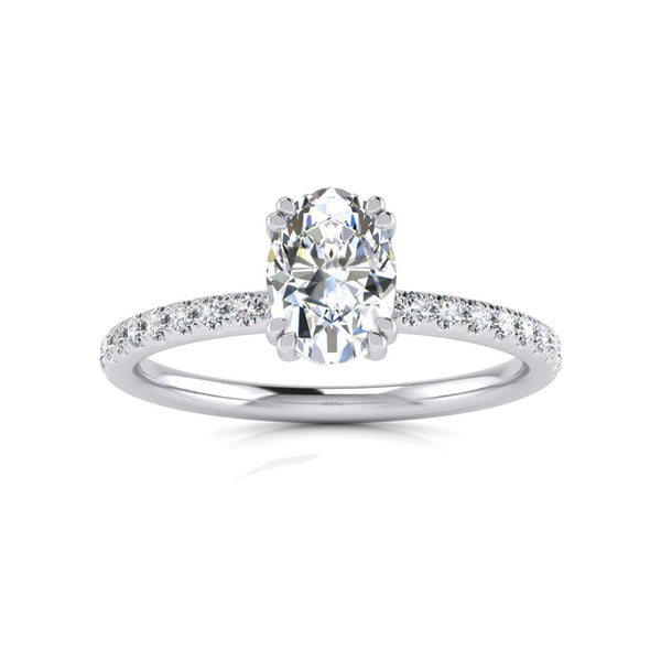 Gia Double Claw with Diamond Band - Platinum
