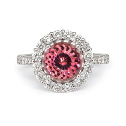 Pink Tourmaline & Diamond Halo Ring