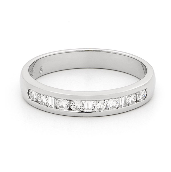 Channel Set Brilliant and Baguette Cut Diamond Band