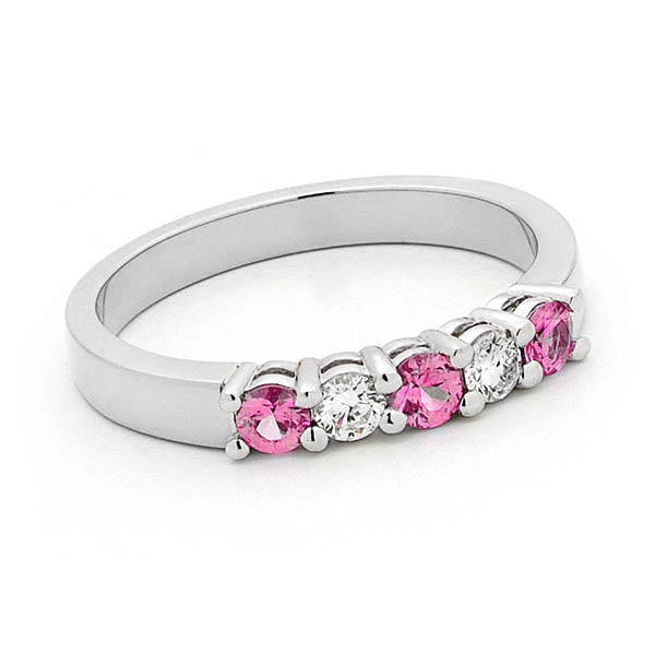 18ct White Gold Pink Sapphire and Diamond Ring