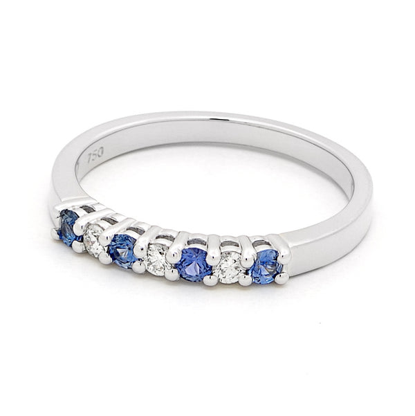 18ct White Gold Ceylon Sapphire and Diamond Ring