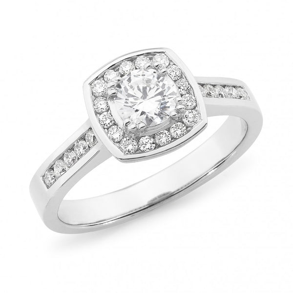 Cushion Halo with Diamond Set Band
