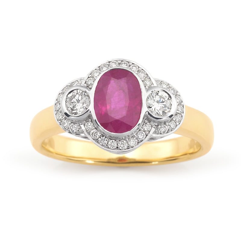 Two-Tone Ruby and Diamond Ring