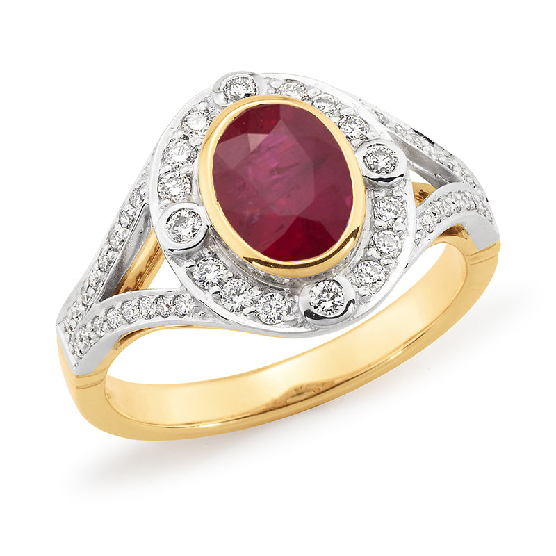 Two-Tone Ruby and Diamond Dress Ring