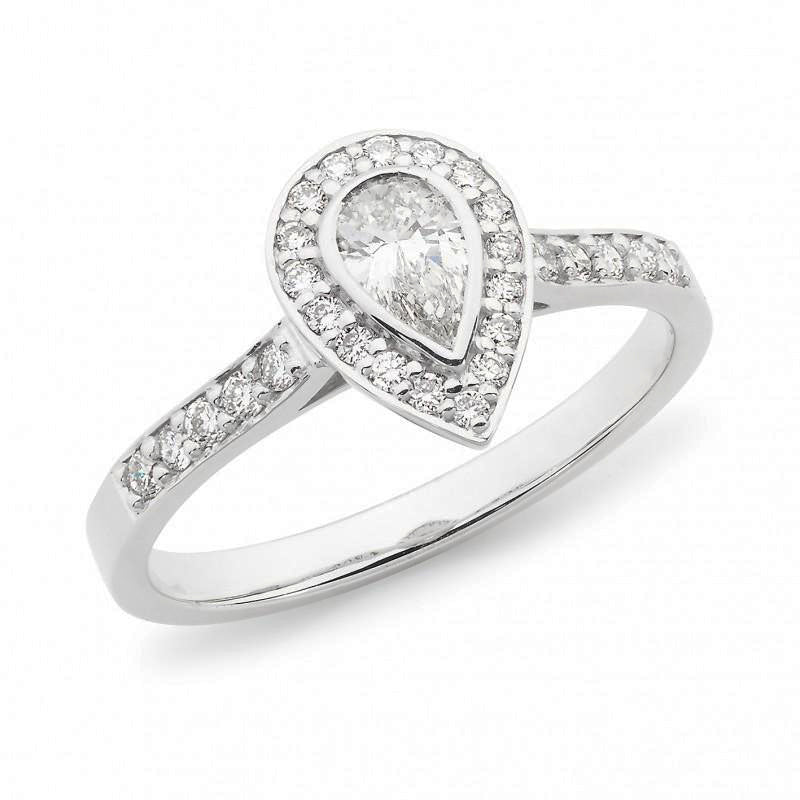 Pear Cut Halo with Diamond Band