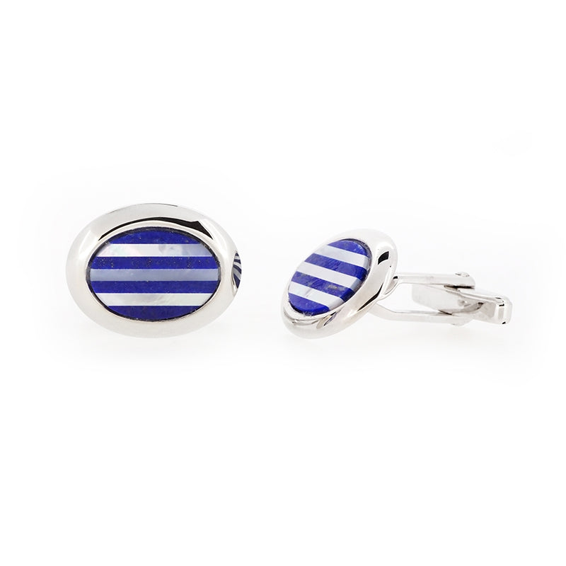 Sterling Silver Mother of Pearl & Lapis Lazuli Cufflinks