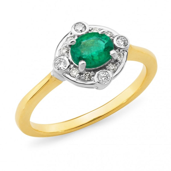 9ct Emerald and Diamond Halo Ring