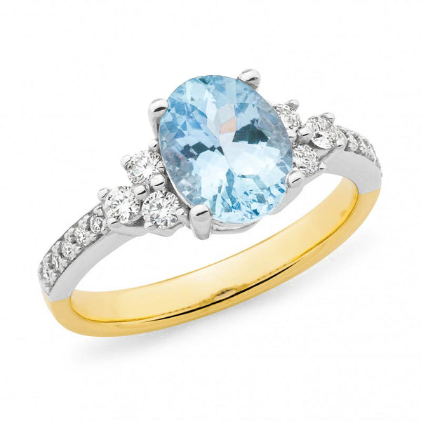 9ct Gold Aquamarine & Diamond Ring