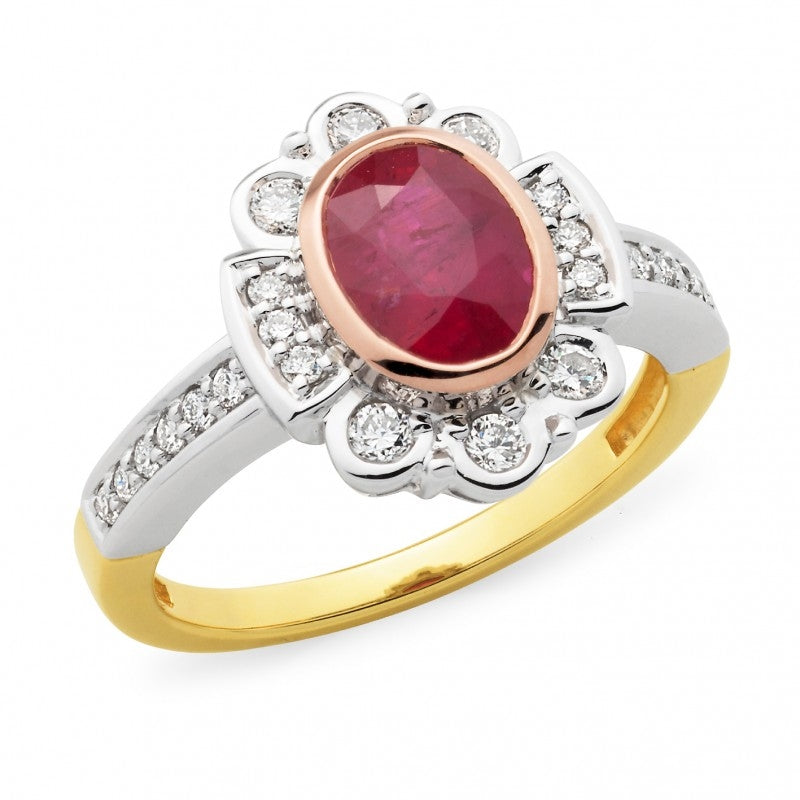 Three-Tone Ruby and Diamond Dress Ring