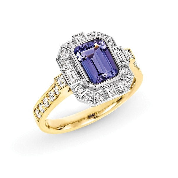Tanzanite Fancy Diamond Halo Ring