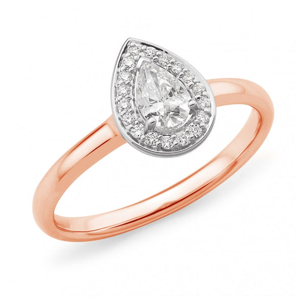 Pear Halo with Rose Gold Band