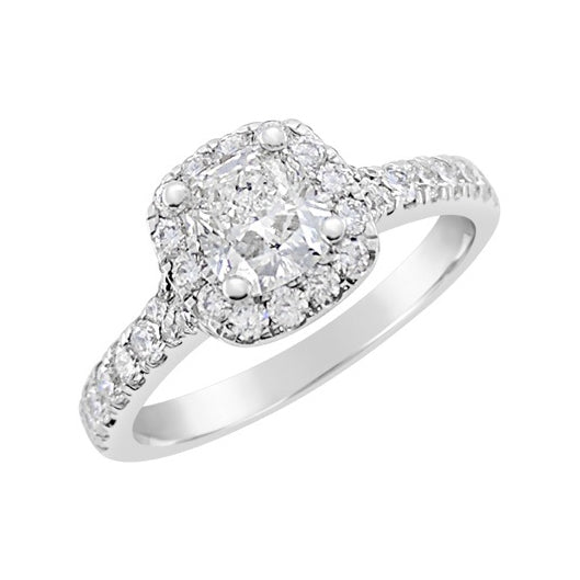 Cushion Cut Halo with Diamond Band