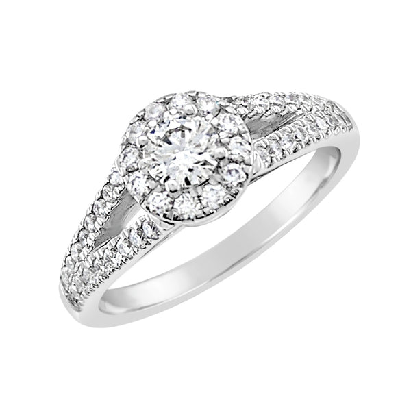 9ct White Gold Halo Ring with Split Shank