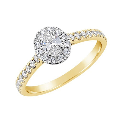 Oval Halo with Yellow Gold Diamond Set Band