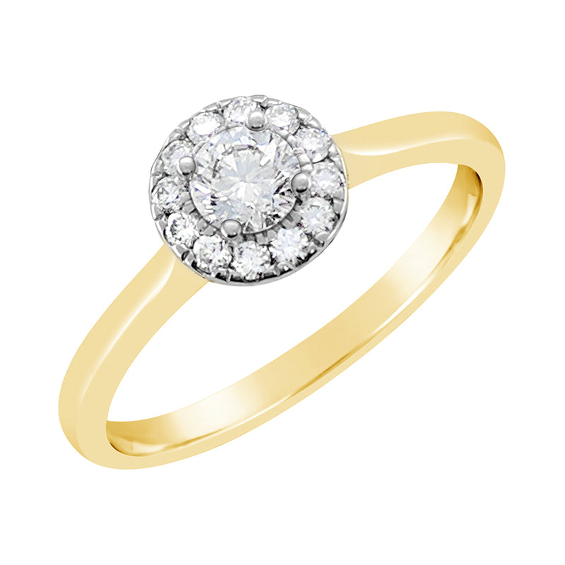 9ct Yellow Gold Round Brilliant Halo